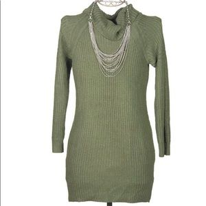 Dark Green Sweater Dress W/ Cowl Neck Size Large